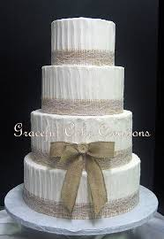 Rustic Chic Textured Butter Cream Wedding Cake With Burlap And Lace