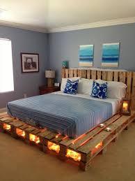 Pallet Bed Design With String Lights