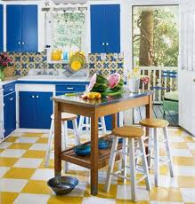 Yellow And Blue Color Scheme For Kitchen Decorating