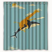 Throw Money At Screen Giraffe Pirate Riding A Shark Shower Curtain