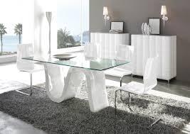 pied de le blanc acheter votre table contemporiane plateau verre pied laqué blanc
