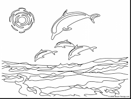 Fabulous Hard Dolphin Coloring Pages With Beach And Pdf
