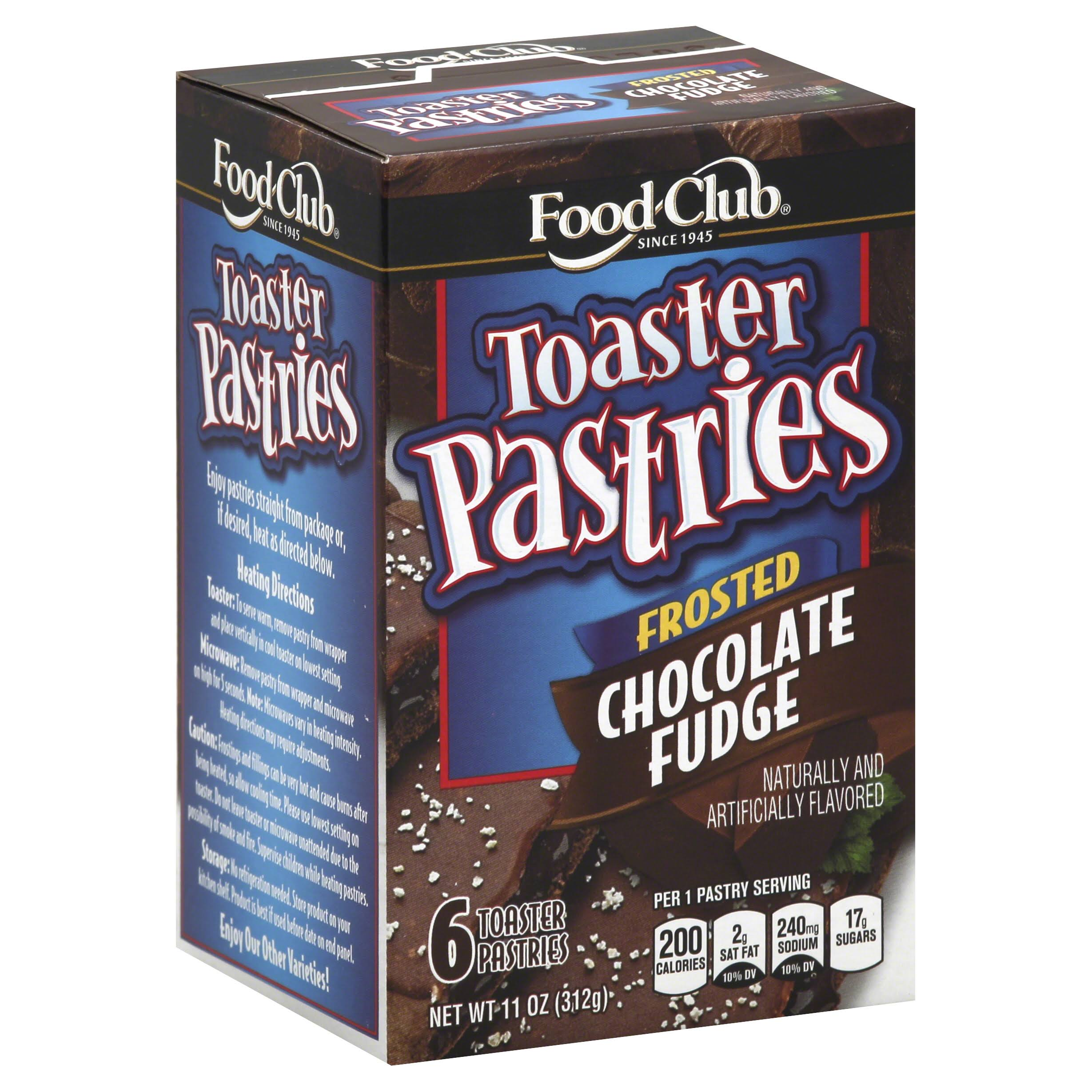 Food Club Toaster Pastries, Frosted, Chocolate Fudge - 6 pastries, 11 oz