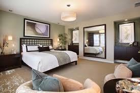 Zen Bedroom Design Ideas Wall Mirror Dark Wood Furniture Beige