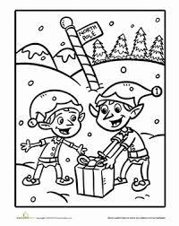 Kindergarten Holidays Seasons Worksheets Christmas Elf Coloring Page