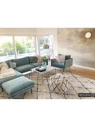 sofa hocker moby aus samt in türkis mit metall füßen