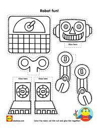 Color Cut And Paste Together A Fun Robot Craft With Our Free Printable