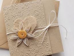 Wedding Invitation With Flower And Burlap Heart