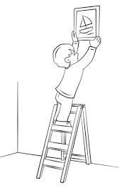 Click To See Printable Version Of Boy Hanging Picture On A Wall With Ladder Coloring Page