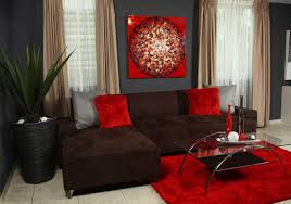 red and brown living room ideas with red couch home interior
