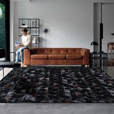 amerikanischen stil luxus rindsleder patch arbeit teppich natürliche schwarze farbe kuh haut pelz teppich für wohnzimmer dekoration fell matte