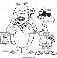 Clipart Of A Black And White Male Tourist Feeding Cookie To Bear For