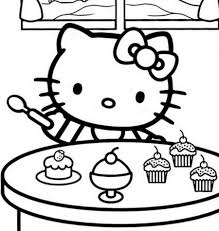 Hello Kitty Eating Ice Cream Free Coloring Page O