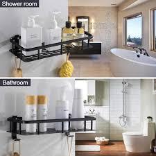bad regal aluminium schwarz dusche caddy mit haken shoo seife parfüm halter bad lagerung organisation etagere salle de bain