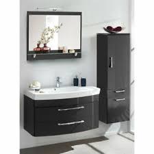 details zu badezimmer möbel set hochglanz anthrazit 100cm waschtisch hochschrank badmöbel