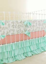 mint and gray crib bedding baby nursery peach and mint