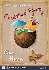 Cocktail Party Vintage Poster Coconut Vector Illustration