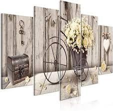 decomonkey bilder blumen vintage 200x100 cm 5 teilig leinwandbilder bild auf leinwand wandbild kunstdruck wanddeko wand wohnzimmer wanddekoration deko