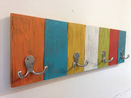 Reclaimed Wood Coat Rack Multicolor With Double Hooks