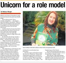 Of A Recent Newspaper Article About Crimson And The Guardian Medieval Fantasy Story For 8 10 Year Olds Featuring Young Girl Talking Unicorn