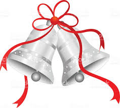 Silver bells with red ribbon bow vector art illustration