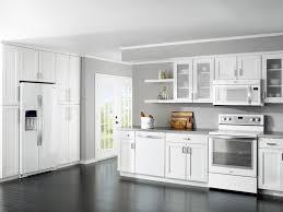 White Cabinets Dark Gray Countertops by White Living Room Kitchen Design White Cabinets White Appliances