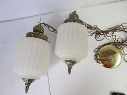 vintage hanging swag l light fixture glass underwriters