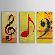 Wall Art Decor Oil Painting Music Canvas Stretched 3 Piece Panel Frame Wallmount