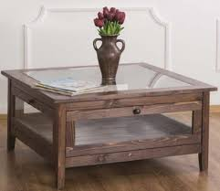 casa padrino landhausstil couchtisch mit glasplatte braun 90 x 90 x h 45 cm massivholz wohnzimmertisch wohnzimmermöbel im landhausstil