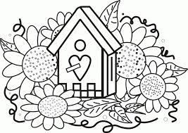 Birdhouse Sunflowers Coloring Page Greatest Book 287431 Pages For Free 2015