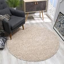 sanat teppich rund beige hochflor langflor modern teppiche fürs wohnzimmer schlafzimmer esszimmer oder kinderzimmer größe 80x80 cm