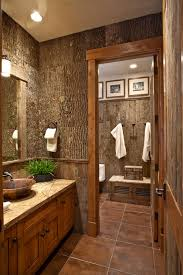 Bathroom Rustic Idea With Brown Wood Vanity Sink Cabinet And Rectangle Glass Wall Mirror Bowl Shaped White Cotton Hanging