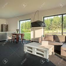 hell geräumig und modern inter mit wohnzimmer und offener küche