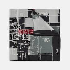100 Turnbull Architects Plan Black Grey And Red Silk Pocket Square