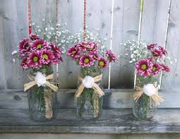 Awesome Country Wedding Flowers Centerpieces Combined With Lovely Dark Pink In Transparent Glass Mason
