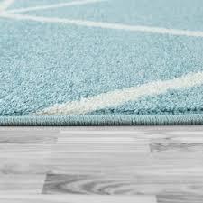skandi teppich wohnzimmer blau weiß rauten design weich pastellfarben kurzflor