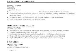 Housekeeper Resume Example Of Housekeeping Examples Hotel Chief