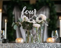 Silver Table Numbers Winter Wedding Decor Number Centerpieces