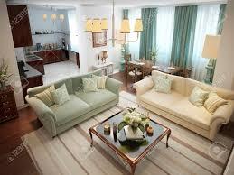 wohnzimmer im römischen stil mit warmen farben in beige oliv und türkis 3d übertragen