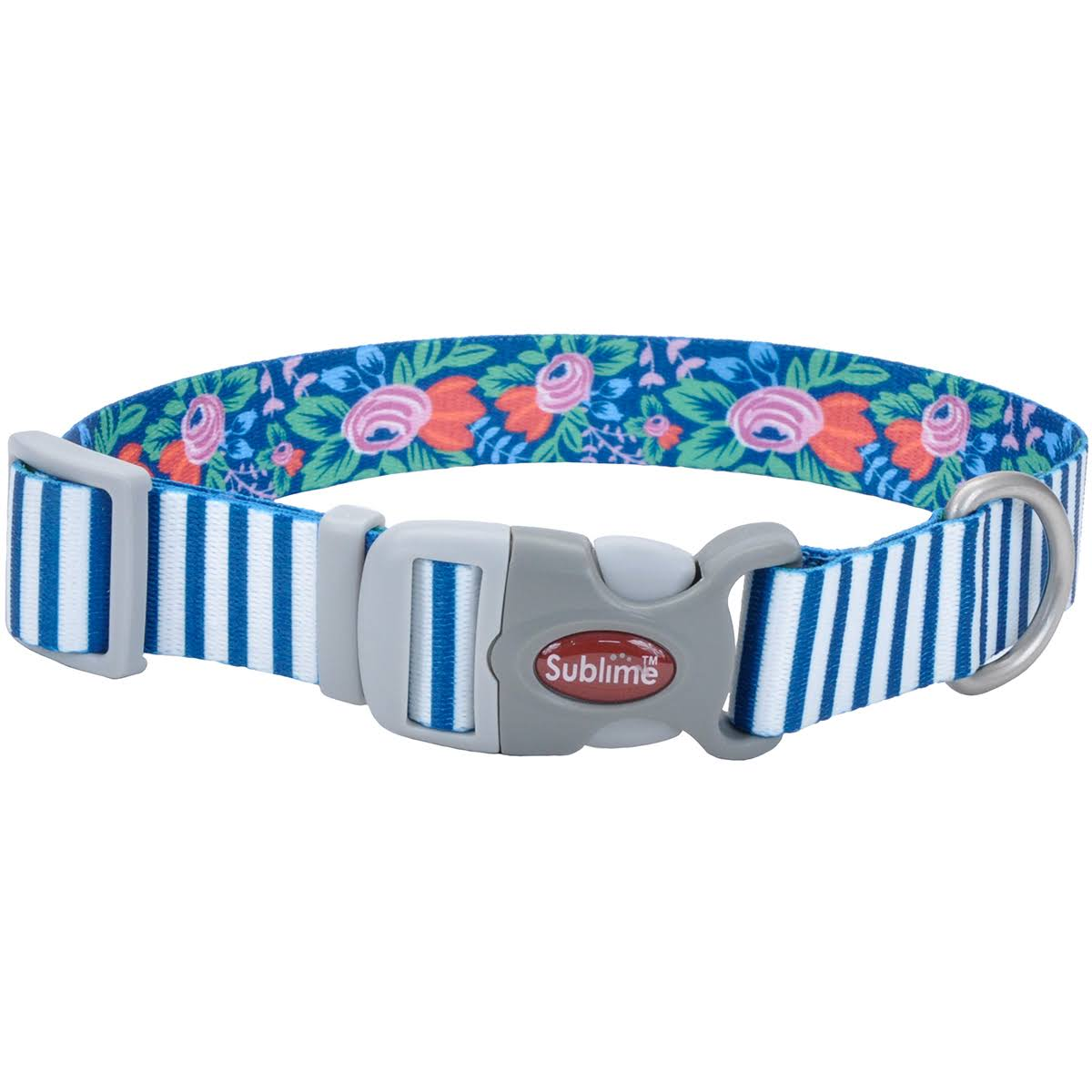 "Coastal Sublime Dog Collar - Teal, Stripe, Flower, 3/4"" X 12"""