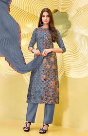 Silk And Cotton Abstract Printed Ready To Stitch Designer Grey Salwar Suit With Zari Work On Neck