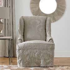 Living Room Chair Cover Ideas by Furniture Embossed Fabric Wingback Chair Slip Cover Design Wing