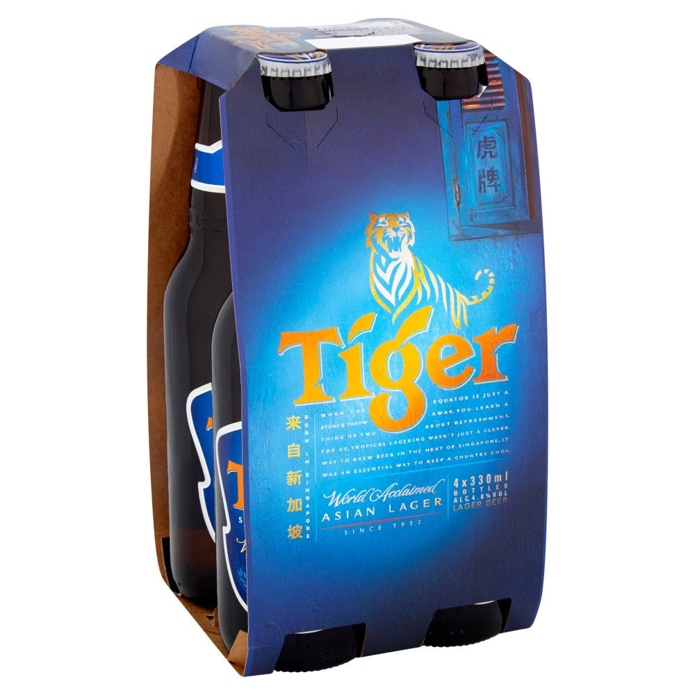 Tiger Lager Beer - 4 x 330ml