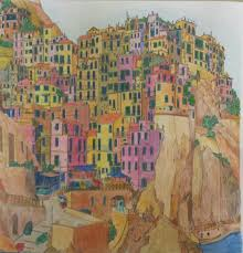 Manarola Italy From FANTASTIC CITIES Coloring Book