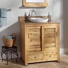 trough sinks with unfinished wooden bathroom
