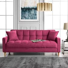 100 Modern Furniture For Small Living Room DIVANO ROMA FURNITURE Linen Fabric Tufted Space Sofa Couch Hot Pink