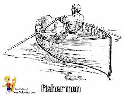 Rowboat And Fisherman Coloring Sheet