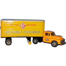1950's Tin Toy Lithographed Semi Truck With Trailer: ABC Freight ... Vintage 1960s Japan Safeway 16 Tin Tractor Trailer Toy Semi Truck Hess Toy Revealed Hesstruck2013 Hexpress Amazoncom Newray Peterbilt Us Navy Diecast 132 Scale Mack Log Diecast Replica Assorted Cars Trucks And Collection Disney Promotional Large Stress Toys With Custom Logo For 1455 Ea 164th Dcp Freightliner Cabover Custom Youtube Sandi Pointe Virtual Library Of Collections Reviews Truckfreightercom Dunkin Donuts Collector Toy Di Cast Truck Semi Tractor Trailer Stock Turn Into Gas Rc Best Resource R Us Semitrailer By Thomasanime On Deviantart
