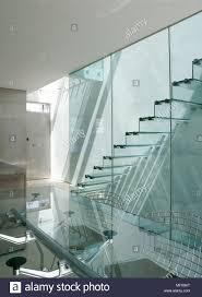 moderne esszimmer mit glastisch und blick durch die glaswand