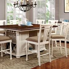 Cottage Wood Counter Height Table In White,Brown Sabrina By ...